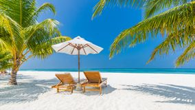 Summer travel destination background panorama. Tropical beach scene royalty free stock images