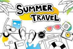 Summer travel doodle symbol and objects icon design for beach ba Royalty Free Stock Photos