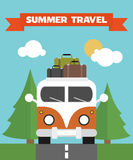 Summer Travel Flat background with bus . Stock Images