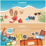 Summer and travel flat banner template. Vector summer and travel flat banner template Stock Photos