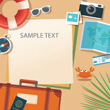 Summer and travel flat design banner template Royalty Free Stock Photo