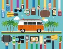 Summer travel flat design with minibus. Vector illustration Royalty Free Stock Photo