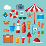 Summer and travel flat icon Stock Photography