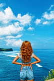 Summer Travel. Happy Free Woman Relaxing By Sea. Freedom Concept Stock Photos