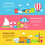 Summer Travel Holiday Flat Horizontal Banners Royalty Free Stock Photography