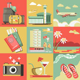 Summer travel or holiday vacation vector ocean beach Royalty Free Stock Photography