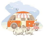Summer travel in a house on wheels Royalty Free Stock Image