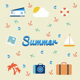 Summer and travel icon flat Stock Photo