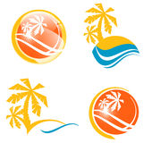 Summer Travel Icon Set. With Tropic Palms and Abstract Sea Royalty Free Stock Photo