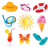 Summer and travel icon set. On white Stock Photos