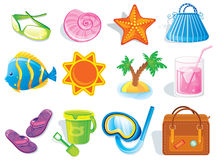 Summer and travel icon set. On white Royalty Free Stock Photography