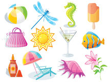 Summer and travel icon set. On white Royalty Free Stock Images
