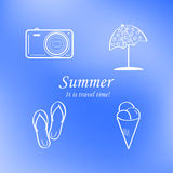 Summer and travel icon set on abstract blurred blue background. Logo. Vector Royalty Free Stock Image