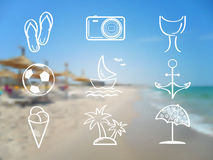 Summer and travel icon set on abstract blurred sea Royalty Free Stock Image
