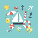 Summer and travel icons Stock Photos