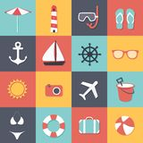 Summer and travel icons Royalty Free Stock Images