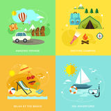 Summer travel icons set in flat design Stock Photo
