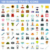 100 summer travel icons set, flat style Royalty Free Stock Photography