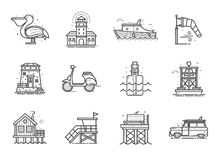 Summer Travel Icons Set. Travel sea side icon set. Summer sea vacation collection with typical seaside town or fishing village elements in line art. Including Stock Photos