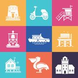 Summer Travel Icons Set. Travel seaside icon set. Summer sea resort outline icons with typical sea town or fishing village elements. Including scooter, boat Royalty Free Stock Photography