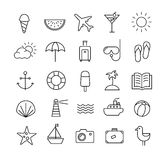 Summer Travel icons in thin lines Royalty Free Stock Photos