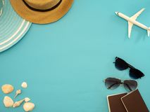 Summer travel ideas and beach objects stock photo