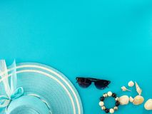 Summer travel ideas and beach objects stock image
