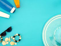 Summer travel ideas and beach objects stock photography