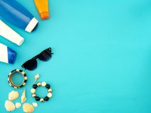 Summer travel ideas and beach objects royalty free stock image