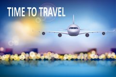 Summer travel illustration with airplane on blue sunny background with soft bokeh and clouds. Brochure in tourism theme. Travel agency advertisement airplane Royalty Free Stock Photos