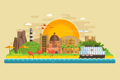 Summer Travel Island Landscape. Travel summer island landscape in flat design inspired by Cagliari, Sardinia. Sunset at seaside background with green hills royalty free illustration