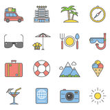Summer travel linear and beach vacation line icons Stock Photos