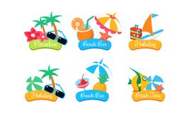 Free Summer Travel Logo Template Set, Paradise, Beach Bar, Holiday, Beach Time Bright Labels Vector Illustration Isolated On Royalty Free Stock Photo - 130444645