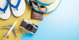 Summer travel objects on blue Royalty Free Stock Photography