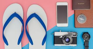 Summer travel objects top view with flip flop sandals. Summer travel objects top view with flip flop beach sandals Royalty Free Stock Photography