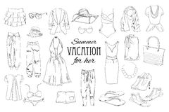 Summer travel packing for vacation. Woman clothing set. Vector hand drawn isolated objects. Black and white fashion Royalty Free Stock Photography