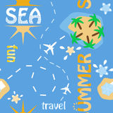 Summer travel pattern. Seamless pattern with elements of summer travel Stock Photo