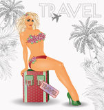 Summer travel pin up  girl Stock Images