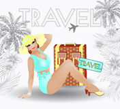 Summer travel pin up sexy women Stock Image