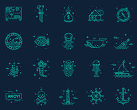 Summer, travel, pirate icons set vector. Stock Images