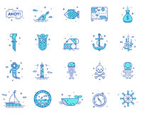 Summer, travel, pirate icons set vector Royalty Free Stock Images