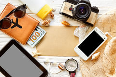 Summer travel planning vacation concept, space for text, flat la Royalty Free Stock Photography