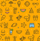 Summer Travel Recreation Holiday Pattern Background. Vector Royalty Free Stock Photography