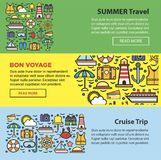 Summer travel and sea cruise vacation web banners vector templates Royalty Free Stock Photography