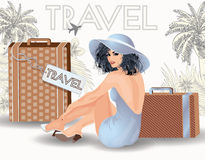 Summer travel sex pin up girl Royalty Free Stock Photos