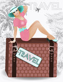 Summer travel sexual pin up girl. Vector illustration Stock Images
