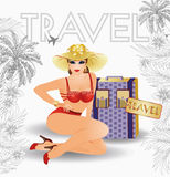 Summer travel sexual pin up young girl. Summer travel sexy pin up young girl, vector illustration Stock Image