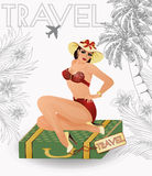 Summer travel sexy pin up girl Stock Photography