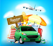 Summer Travel Sign on Blue Background with Car Royalty Free Stock Photo