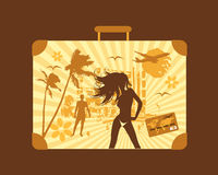Summer travel, suitcase. Vector illustration Royalty Free Stock Photography